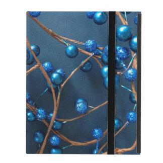 Étui iPad Noël bleu lumineux de baies d'hiver