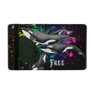 Étui iPad Noir d'éclaboussure d'aquarelle de baleines