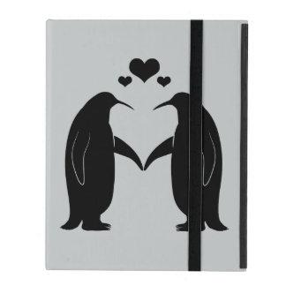 Étui iPad Pingouins dans l'amour avec des coeurs