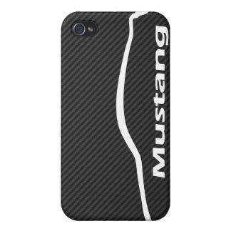 Étui iPhone 4/4S Logo blanc de silhouette de coupé du GT de mustang