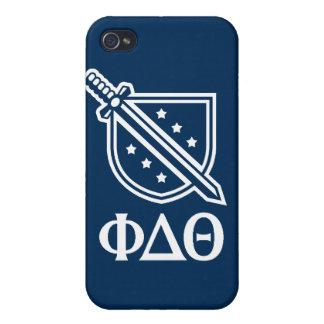 Étui iPhone 4/4S Logo et lettres empilés - bleu et blanc