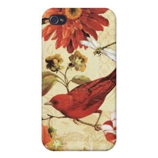 Étui iPhone 4/4S Oiseau rouge dans un jardin d'agrément