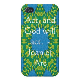 Étui iPhone 4 Citation de Jeanne d'Arc avec la conception