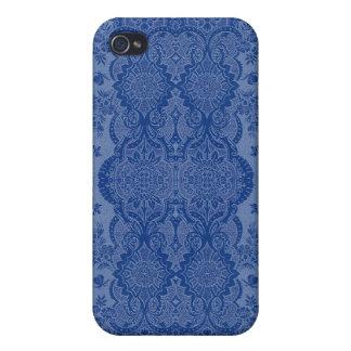 Étui iPhone 4 Floral vintage de dentelle dans le bleu moyen