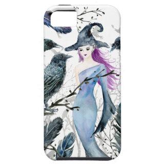 Étui iPhone 5 Corneilles et sorcière d'aquarelle