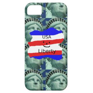 Étui iPhone 5 Couleurs de drapeau des Etats-Unis avec la statue