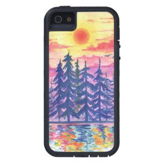 Étui iPhone 5 Forêt et lac au crépuscule, iPhone5/5s