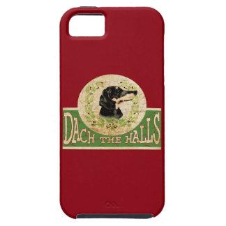 Étui iPhone 5 Guirlande vintage de houx de teckel de Noël