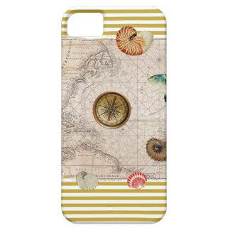 Étui iPhone 5 La marine prise les rayures jaunes de moutarde