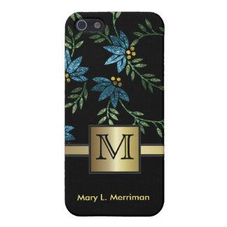Étui iPhone 5 Monogramme floral turquoise élégant du