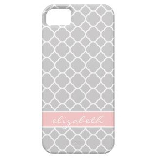 Étui iPhone 5 Monogramme moderne gris et rose de coutume de