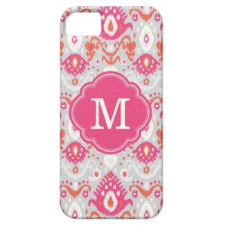 Étui iPhone 5 Monogramme rose et de corail de coutume d'Ikat