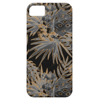 Étui iPhone 5 orange chaud tropical de motif de fleur