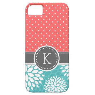 Étui iPhone 5 Point de polka de monogramme de corail et de