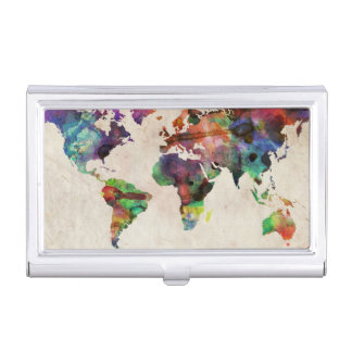 Étui Pour Cartes De Visite Aquarelle urbaine de carte du monde