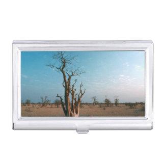 Étui Pour Cartes De Visite Arbre de Moringo d'Africain sur la plaine,