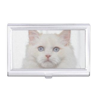 Étui Pour Cartes De Visite Chat blanc avec des plumes