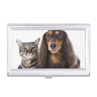 Étui Pour Cartes De Visite Chien (teckel) et chat (chat japonais) sur le
