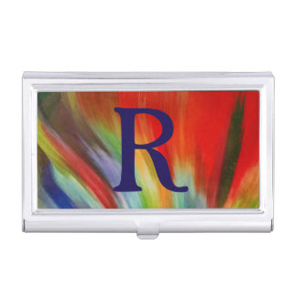 Étui Pour Cartes De Visite cool abstrait coloré lumineux d'art d'aquarelle de