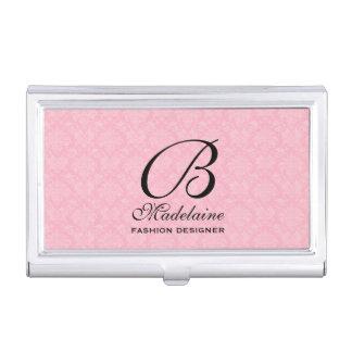 Étui Pour Cartes De Visite Damassé féminine dans rose et noir avec le