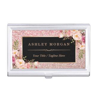 Étui Pour Cartes De Visite Décor floral Girly de beau scintillement rose d'or
