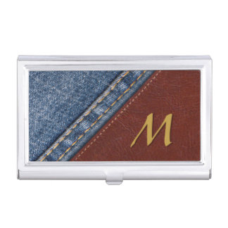 Étui Pour Cartes De Visite Denim vintage et cuir de monogramme