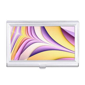 Étui Pour Cartes De Visite Fractale colorée par pastel. Jaune, rose, pourpre