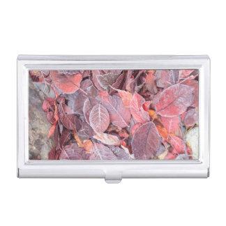 Étui Pour Cartes De Visite Frost sur le feuille tombé, couleurs d'automne,
