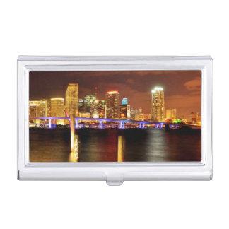 Étui Pour Cartes De Visite Horizon de Miami la nuit, la Floride