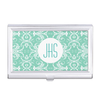 Étui Pour Cartes De Visite Le vert floral vintage décoré d'un monogramme