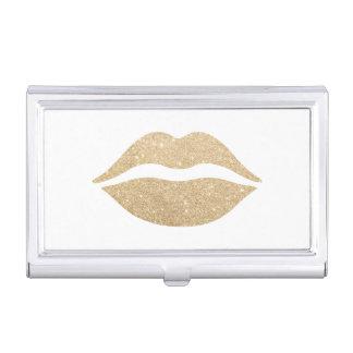 Étui Pour Cartes De Visite lèvres claires élégantes de scintillement d'or