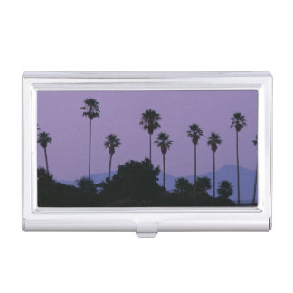 Étui Pour Cartes De Visite Lune au-dessus des palmiers au crépuscule,