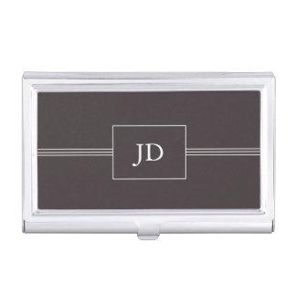 Étui Pour Cartes De Visite Monogramme gris-foncé élégant simple