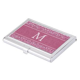 Étui Pour Cartes De Visite Monogramme rose de scintillement de Faux