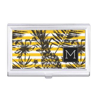 Étui Pour Cartes De Visite Monogramme tiré par la main des ananas |