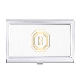 Étui Pour Cartes De Visite Monogramme vintage d'initiales d'art déco d'or