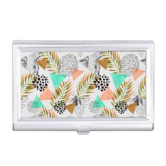 Étui Pour Cartes De Visite Motif tropical géométrique abstrait de feuille