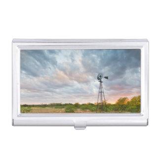 Étui Pour Cartes De Visite Moulin à vent et nuages au coucher du soleil