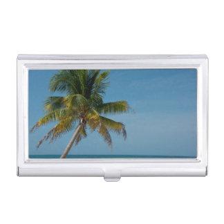 Étui Pour Cartes De Visite Palmier et plage blanche 2 de sable