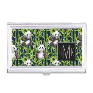 Étui Pour Cartes De Visite Panda avec le monogramme en bambou du motif |