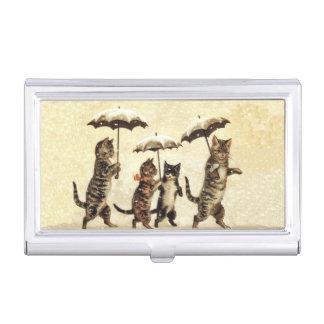 Étui Pour Cartes De Visite Parapluies rayés vintages de chats dansant la