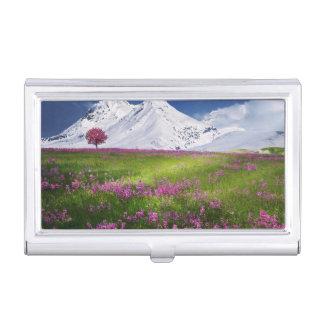 Étui Pour Cartes De Visite Paysage pourpre de fleurs d'herbe de montagnes de
