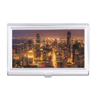 Étui Pour Cartes De Visite Paysage urbain de nuit de Chicago