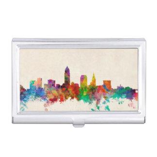 Étui Pour Cartes De Visite Paysage urbain d'horizon de Cleveland Ohio
