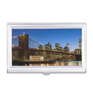 Étui Pour Cartes De Visite Pont de Manhattan et de Brooklyn au crépuscule