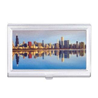 Étui Pour Cartes De Visite Vue d'horizon de Chicago avec la réflexion