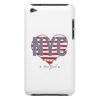 Étuis Barely There iPod Coeur de drapeau américain de NYC