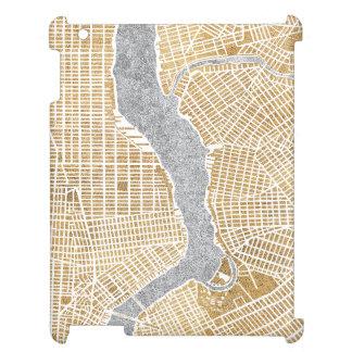 Étuis iPad Carte dorée de ville de New York
