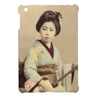 Étuis iPad Mini Geisha japonais vintage jouant le shamisen