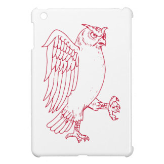 Étuis iPad Mini Grand dessin de marche de hibou à cornes